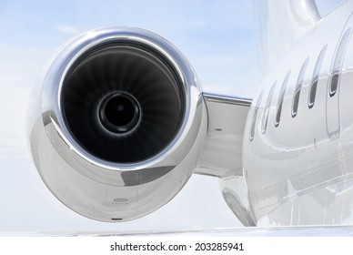 Running Jet Engine closeup on a luxury private jet aircraft