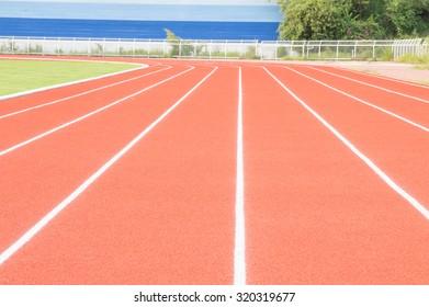 running lanes in stadium.