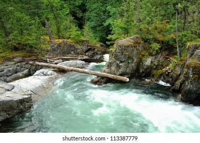 running little qualicum falls, vancouver island, bc, canada