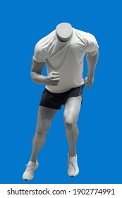 Running male mannequin, isolated on blue background. No brand names or copyright objects.