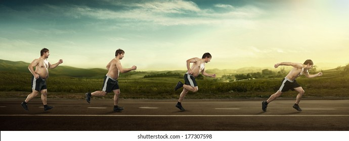 Running man at first full in the end of thin on road. Concept weight loss, exercise
