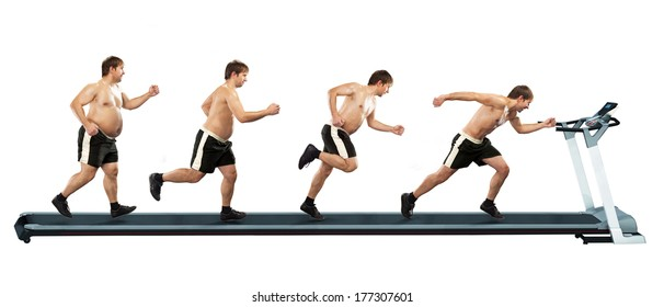 Running man at first full in the end of thin. Concept weight loss, exercise. Isolated on white background