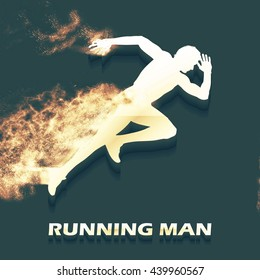 Running man illustration. Creative, luxury gradient color style image. Print label, banner, icon, book, cover, card, website, web, greeting, invitation. Particle divergent composition