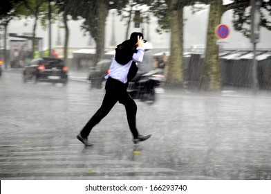 running man in the rain