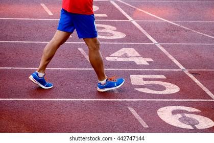 running on athletics track