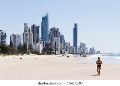Running on the beach, Surfers Paradise.