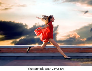 Running on the roof of a young woman