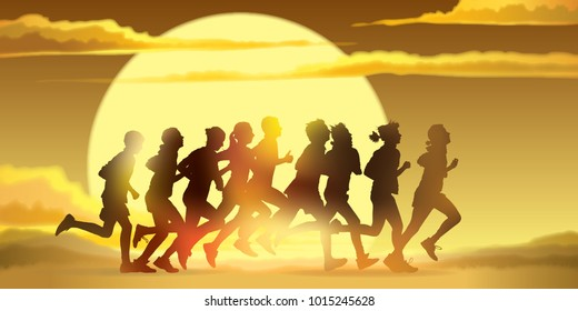 Running people. Crowd of young people is running in the marathon against a sunset background.