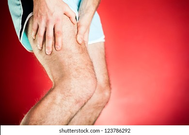 Running physical injury, leg muscle pain. Runner sore body after exercising or jogging, gym or studio. Healthcare medical concept.