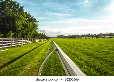 running rail on horse racecourse field in Melbourne
