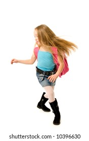 Running school girl with a pink backpack