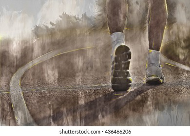 Running sport. Man runner legs and shoes in action on stadium road outdoor. Background drips. Abstract art of sport.