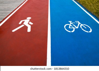 Running track and bike road in the park. Healthy lifestyle. Exercise in the park. Bicycle road symbol on blue background and walking man symbol on the red background.