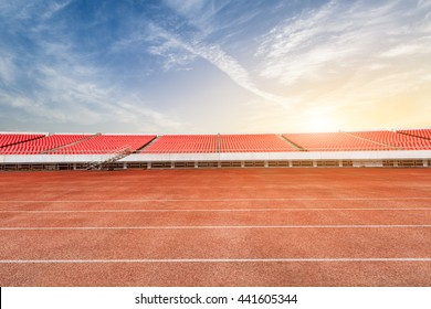 running track and bleachers at the stadium