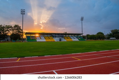 Running track in the evening with sun set