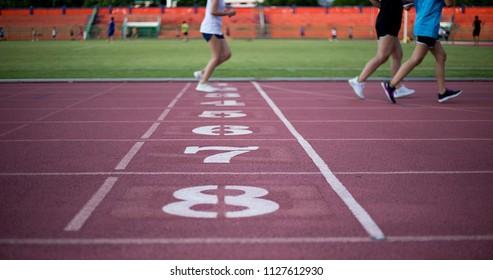 Running track at football stadium , Training of runner