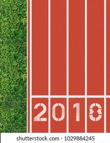 Running track Lanes 2018 of a red racing track, Business concept in 2018.