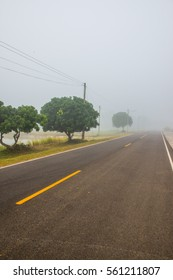 Running track with mist in winter season at Phayao province, Thailand.