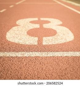 Running track number 8 vintage background