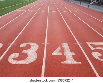 running track with the numbers 3, 4, and 5