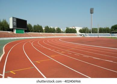 Running track on the stadium