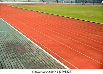Running track for race in stadium and football field