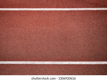 Running track rubber cover texture top view with two white lines background