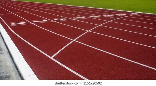 Running track in stadium.