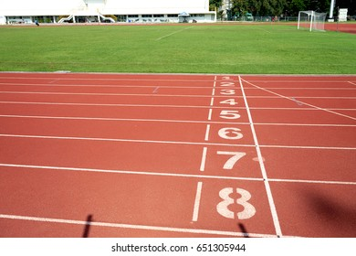 Running track at the stadium with the numbering.