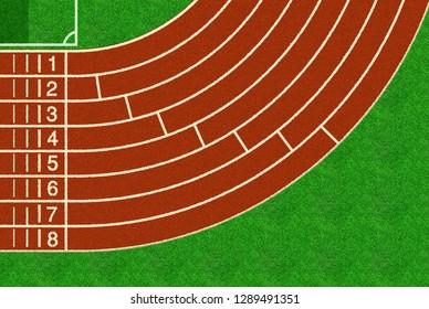 Running track, top view of sport stadium.