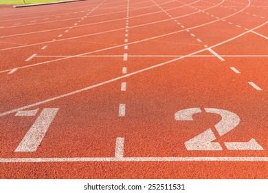Running track with white number