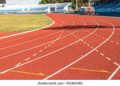 Running tracks in an empty stadium.