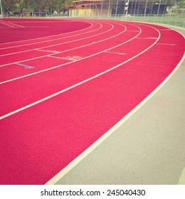 Running Tracks on the Stadium in  Switzerland, Instagram Effect
