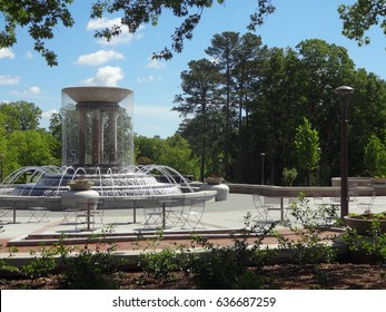 A Running Water Fountain in a downtown Cary, North Carolina Park.