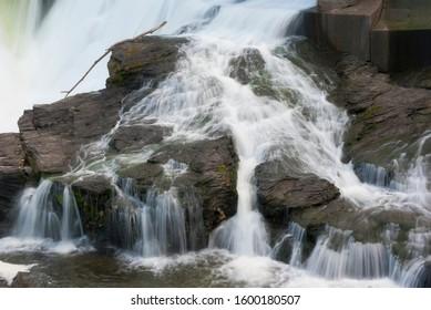 running water on rocks