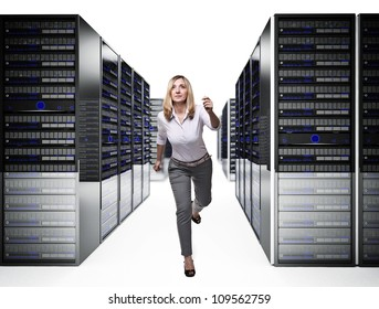 running woman in 3d data center