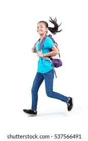 Running young asian student with backpack. Isolated in white background.