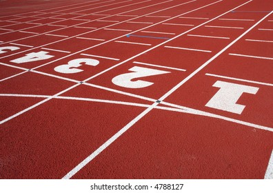 running-tracks of the stadium marked with numbers