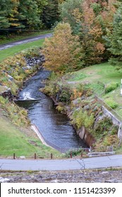 Runoff from the Otter Brook Dam, which provides flood control for the towns near Keene, New Hampshire