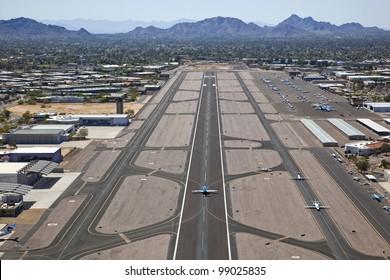 Runway and aircraft at Scottsdale Airport