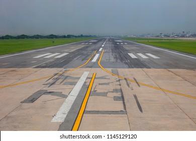 Runway airstrip in the airport terminal