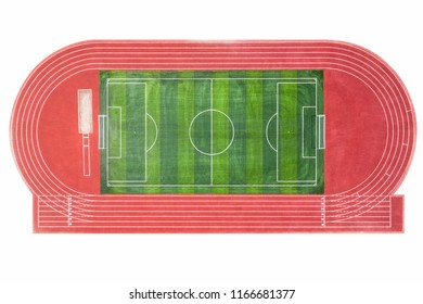 runway and football field isolated on white with clipping path