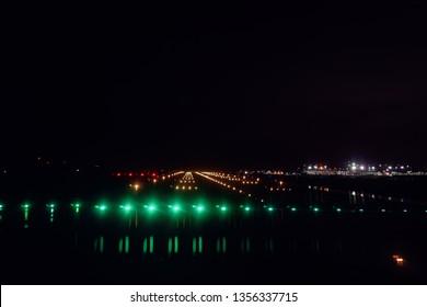 Runway landing strip with light on