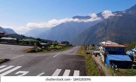 Runway of popular Tenzing–Hillary Airport (IATA: LUA) in Lukla, Khumbu Region, Nepal said to be one of the most dangerous airports worldwide. Starting point of the famous Everest Base Camp Trek.