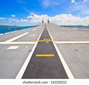 Runway at takeoff on battleship and  Runway Aircraft Carrier