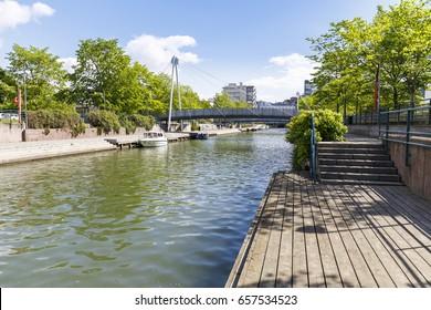 Ruoholahdenpuisto canal in the city center of Helsinki, Finland