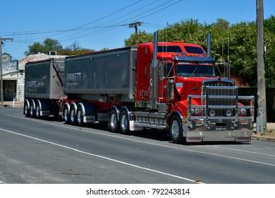 RUPANYUP, VIC; AUSTRALIA - NOVEMBER 08: Truck usually named Road Train on main street in the tiny village in Victoria, on November 08, 2017 in Rupanyup, Australia