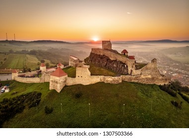 Rupea citadel at sunrise in Transylvania tourist travel attraction situated between Brasov and SIghisoara