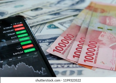 rupiah indonesia currency and stock market ihsg business financial and us dollar