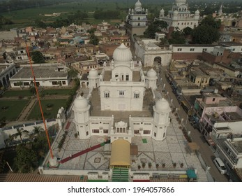 Rupnagar, Punjab - 15-10-2019: drone shot of Chamkaur sahib gurudwaras situated in punjab.It is famous for the First Battle of Chamkaur. Khalsa gurdwaras. Sikh people place for worship.